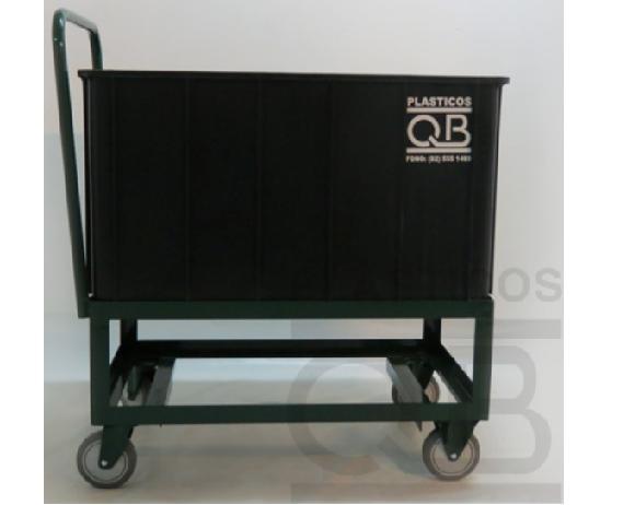 Carro metalico con rueda y caja plastica 53x42x83cm for Cajas plasticas con ruedas